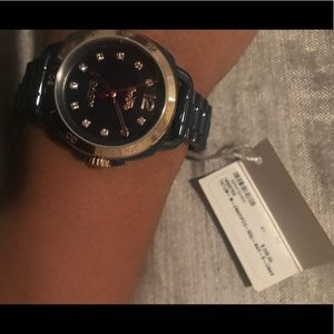 Coach Accessories - NWT Navy Coach Tatum Watch Rose Gold and Crystals